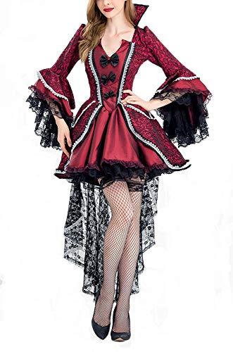 Süße Frauen Vampir Kostüm - Erwachsenes Halloween-Kostüm, Frauen-Damen-Vampirs-Kleid Halloween-Süßes sonst gibt's Saures-Horror-Kostüme, Party-Kostüme,A,XL