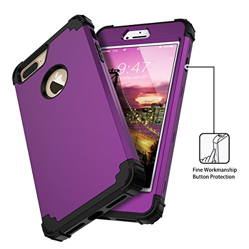 WE LOVE CASE iPhone 7 Plus Coque, Étui de Protection en Premium Hard Plastique Dur Housse Mince et Clair, 2 in 1 Bumper Anti-Rayures Cas Couverture Anti-dérapante Coque pour Apple iPhone 7 Plus - Viol violet
