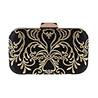 Ankoee Women Evening Clutches Wedding Purses Wedding Prom Party Bridal Ladies Embroidery Clutch Bag (Black/Gold-02)
