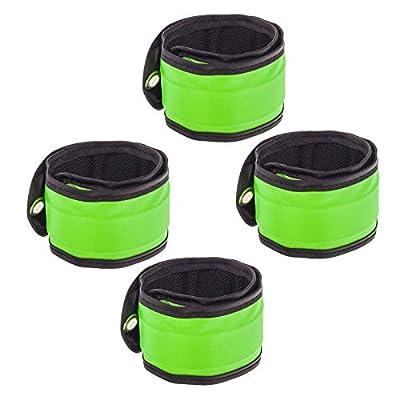 4x Smartfox LED Armband Klatscharmband Slap Schnapp Leuchtband Reflektorband Sicherheit Licht Knick-Armbänder in grün für Kinder Erwachsene Radfahrer Jogger Wanderer
