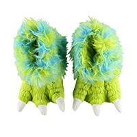 Lazy One Green Monster Paw Slippers Child Medium