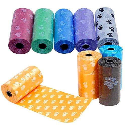 Runfon 5rollos de bolsas para recoger excrementos de perros, bolsas higiénicas biodegradables para excrementos, bolsa para excremento de animales.