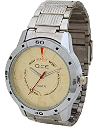 "Dice""Numbers-4237"" Chrono Dial-Face Formal Round Shaped Wrist Watch for Men. Fitted with Beautiful Golden Color Dial, Stainless Steel Case and Chain"