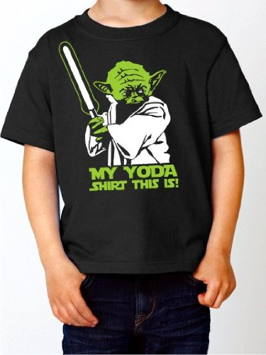 BIGTIME.de Kinder T-Shirt MY Yoda Shirt this is Star wars Krieg der Sterne Fun Shirt schwarz E158-kids Gr. 104 -