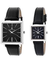 Timewear Analogue Black Dial Men's & Women's Couple Watch - 909Bdtcouple