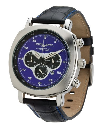 Jorg Gray Men's Quartz Watch JG3500 with Italian Leather Crocodile Pattern Strap