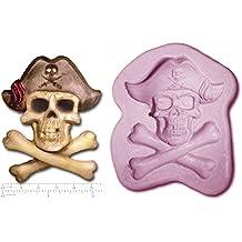 Cráneo del pirata y hueso Jolly Roger de goma de silicona para repostería Fimo jabón del molde