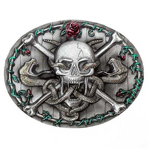 Fibbia Teschio con serpente, Skull & Bones fibbia della cintura