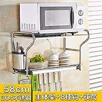 FuweiEncore 304 Acero Inoxidable Estantes de Cocina de 2 Capas Estantes de  microondas montados en la ef4175dad461