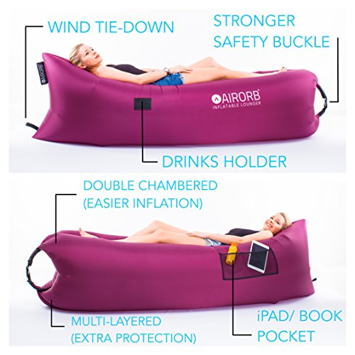 AirOrb Inflatable Sofa Lounger – 2 Colours – Luxury Blow Up Inflatable Air Chair and Large Raised Outdoor Air Beds for Camping – Made for Comfort – Portable and Compact Travel Air Bed Lounger for Kids or Adults – Our Lazy Fishing Airbag can be used on ANY Terrain