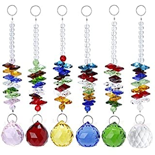 Aiskaer 1.2 Inch 6PCS Colorful Crystal Ball Pendant Chandelier Decor Hanging Prism Ornaments,Feng Shui Faceted Ball,Chandelier Crystals Ball Rainbow Suncatcher Prisms,pink,red,green,yellow,blue,clear