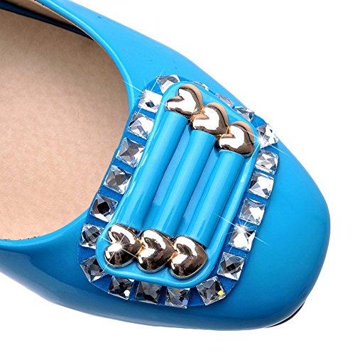AllhqFashion Femme Carré Fermeture D'Orteil Tire Verni Couleur Unie à Talon Correct Chaussures Légeres Bleu