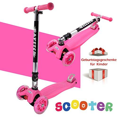 Preisvergleich Produktbild BAYTTER® Faltbarer Kinderroller für Kinder ab 2 Jahre bis 50kg, Kickscooter aus Aluminiumlegierung, Dreiräder mit LED Blinken (pink)