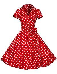 Elegant 50Er Jahre Retro Polka Dots Rockabilly Cocktailkleid Party Stretch Kleid