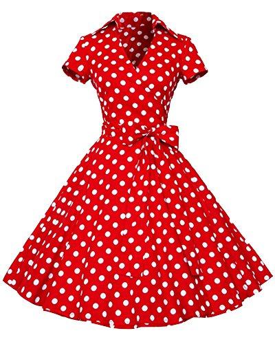 Rétro Vintage Années 50 'S Style Audrey Hepburn Rockabilly Swing, Robe De Bal À Manches Courtes Rouge Point