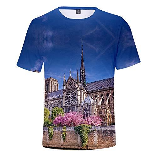 T-Shirt Polyester Neue Notre Dame De Paris Sommer Trend Casual 3D Männer Und Frauen Kurzen Ärmeln Blue Sky Garden TM -