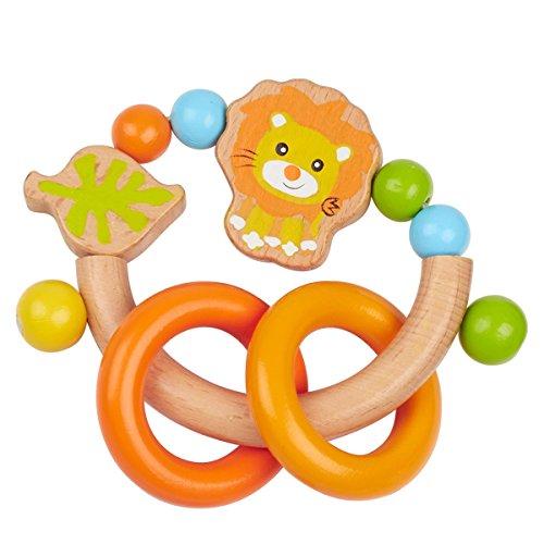 SOLINI Rassel Löwe orange, aus Buchenholz