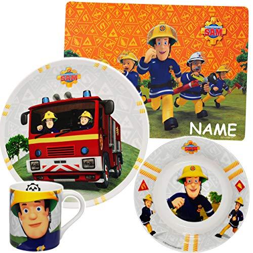 alles-meine.de GmbH 4 TLG. Geschirrset -  Feuerwehrmann Sam Jones  - incl. Name - Porzellan / Keramik - Trinktasse + Teller + Müslischale + Platzdeckchen - Kindergeschirr - Frü..