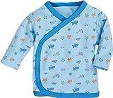 Schnizler Unisex Baby Hemd Wickelshirt, Flügelhemd, Erstlingshemd Langarm Allover, Oeko Tex Standard 100, Blau (bleu 17), 50