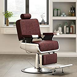 Anaelle Panana Fauteuil de Barbier Coiffeur Classic Hydraulique Inclinable Barber Reclinable 360° (Vineux)