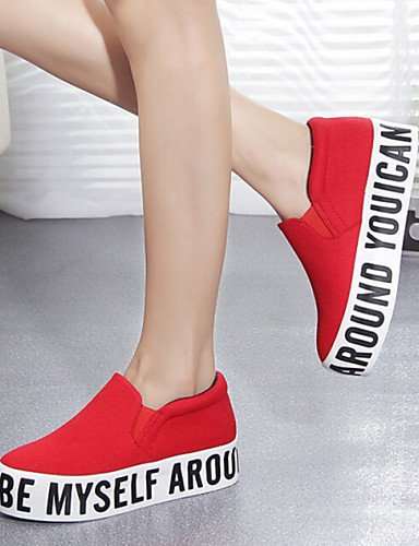 ZQ Scarpe Donna - Sneakers alla moda - Tempo libero / Casual - Zeppe / Comoda / Punta arrotondata / Chiusa - Zeppa - Di corda -Nero / Rosso , red-us8 / eu39 / uk6 / cn39 , red-us8 / eu39 / uk6 / cn39 white-us6.5-7 / eu37 / uk4.5-5 / cn37
