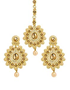 Bindhani Gold-Plated Traditional Jewellery Pearl Mang Tika Earrings Set for Women