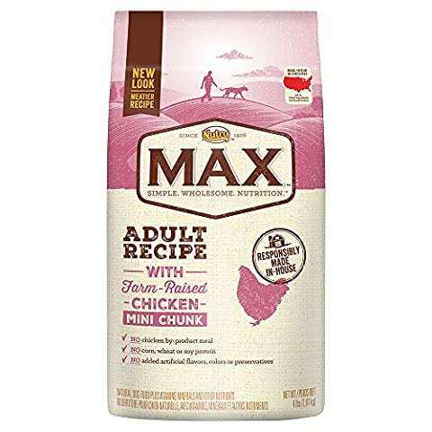Nutro MAX Adult With Farm Raised Chicken Mini Chunk Dry Dog Food, 4 lbs. by Nutro