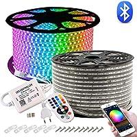 GreenSun LED Lighting Tiras LED 20m 5050SMD, RGB Tiras de Luces LED Iluminación con 60 Leds/m, Bluetooth Control Remoto de 24 Claves Impermeable IP65 para navidad, decoracion de fiestas
