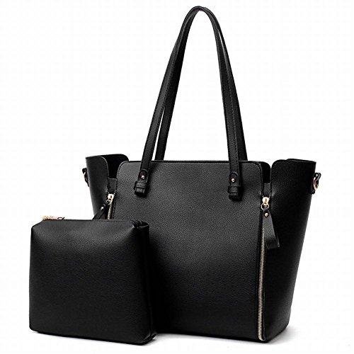 YTTY Modische Retro Weibliche Weibliche Schultertasche Hellgoldenen Reißverschluss Tasche, schwarz -