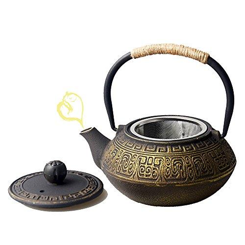 HwaGui-Gusseisen Teekannen mit Filter Goldene Teekannen mit Edelstahl Sieb Herd Wasserkocher 0,6l / 600ml [MEHRWEG] (Teekanne Herd)