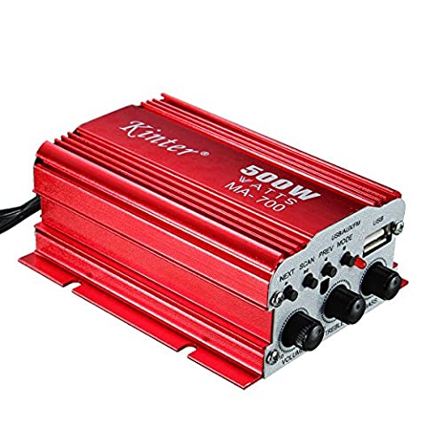 M.Way Amplificateur Stéréo de Voiture HIFI Puissance Super Bass USB / FM / CD / DVD / MP3 pour Voiture Moto, iPhone, Ordinateur, CD,MD,MP3,MP4,ipod etc.