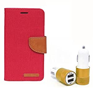 Aart Fancy Wallet Dairy Jeans Flip Case Cover for Nokia620 (Red) + Dual USB Port Car Charger with Smartest & Fastest Technology by Aart Store.