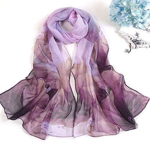 YONGYONG-scarf Damenschals Lotus Sonnenschutz Seidenschal Strandtuch Lang Lotus Teich Mondlicht Dünne Schals Schal 160cm (Color : Purple, Size : 160cm)