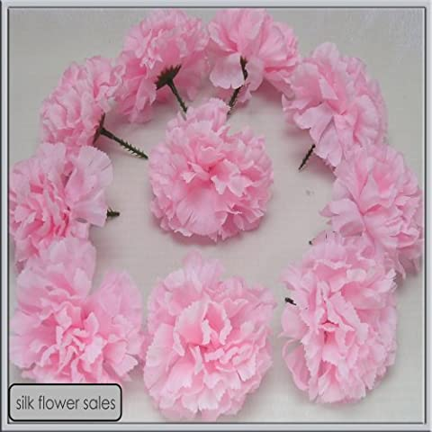 144 Baby Pink carnation picks artificial silk flowers, wedding buttonholes, funeral tributes FREE P&P