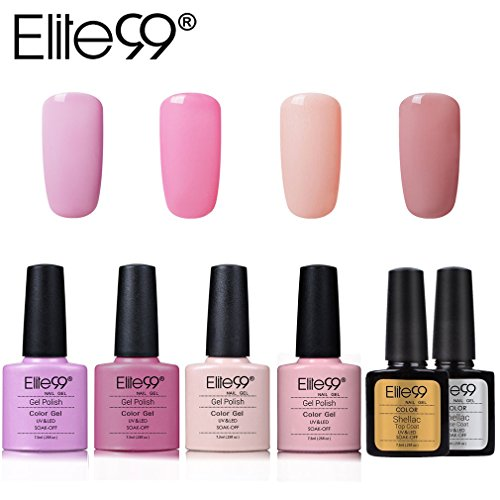 Elite99 4 Farben UV Farbgel Set UV Gel Lack Nagelset Gel Nagellack uv Farbgel Nageldesign Gelnägel, mit Überlack Unterlack, Base & Top coat Nagel Maniküre kit