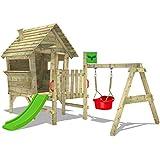 FATMOOSE Stelzenhaus VanillaVilla Joy XXL Spielhaus mit Rutsche, Veranda und Schaukelanbau Babyschaukel für Kleinkinder