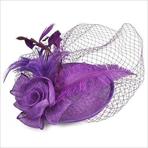 QXX Westlichen Stil Bankett Hut Haarschmuck für Dame Leinen Garn Feder Kopfschmuck (Farbe : ()