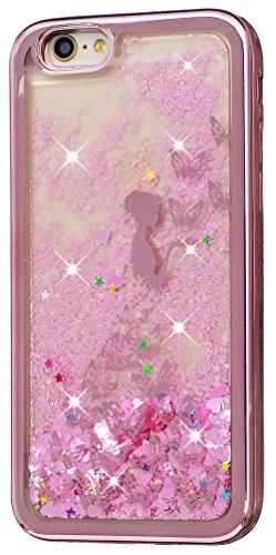 Iphone 6 Plus Coque Silicone, Coque Iphone 6S Plus silicone, Nnopbeclik® (5.5 Pouce) Colorful Paillettes Briller Style Backcover Doux Soft Dégradé de Couleur Housse pour Apple Iphone 6 Plus / Iphone 6 papillon+fille