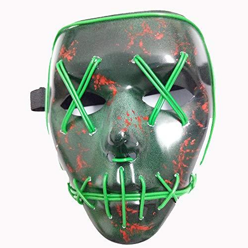 LED-Licht Gesicht Horror Mit Blut Dressing Ball Horror Leuchtende Maske EL Kaltes Licht Geist Tanz Maske,Green