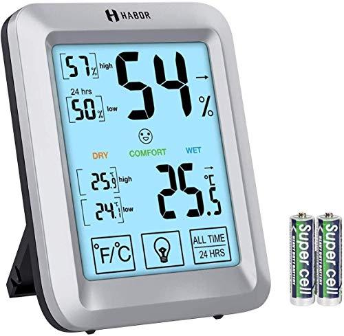 Habor Termómetro Higrómetro Digital,Monitor de Humedad y Temperatura con Pantalla Táctil y Retroiluminación...