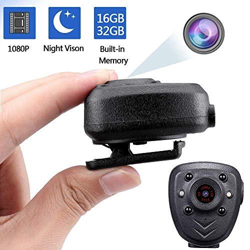 CAIVEN Full HD Mini-Kamera Spion Spy Cam Clip 1080P │ Bewegungserkennung │ IR - Nachtsicht │32GB