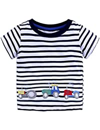 Zantec  Camiseta linda de la manga corta muchacho niña de dibujos animados  o rayas Camisetas 2af111383d3