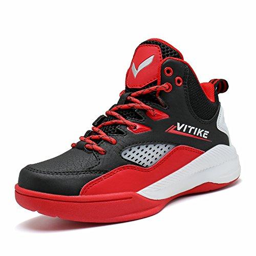 ASHION Kinder Jungen Basketball Schuhe Kids Sneaker Pro Teens Grundschüler Studenten Sportschuhe Big Boys Laufschuhe Schuhe (37 EU, Rot 1)