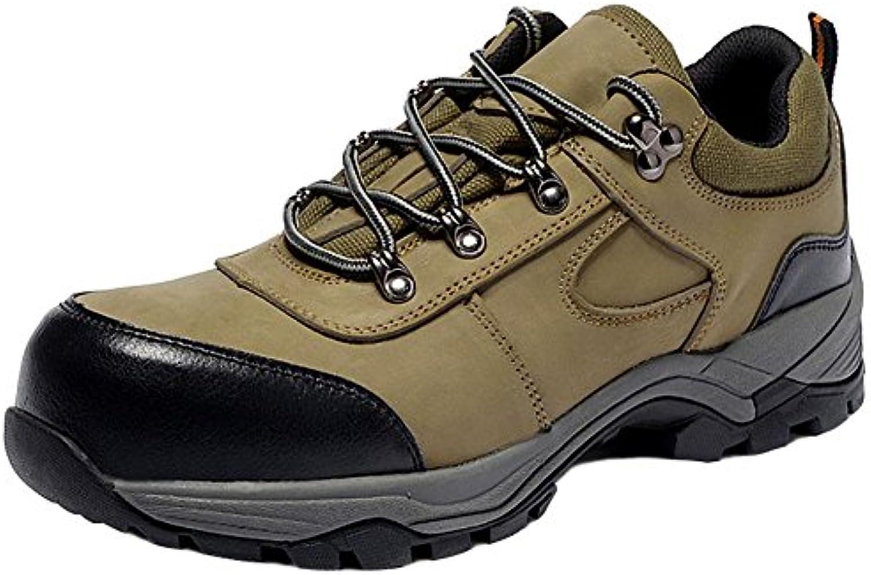 SYYAN Hombres Cuero Antideslizante Anti-aplastamiento Anti-pinchazo Aislamiento Trabajo Zapatos Alpinismo , grey...