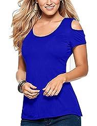 Mujer De Encaje De Ganchillo Espalda Descubierta Escote Redondo Casual Elástico Manga Corta Playa Sin Tirantes Camisas Blusas Verano Azul 5XL
