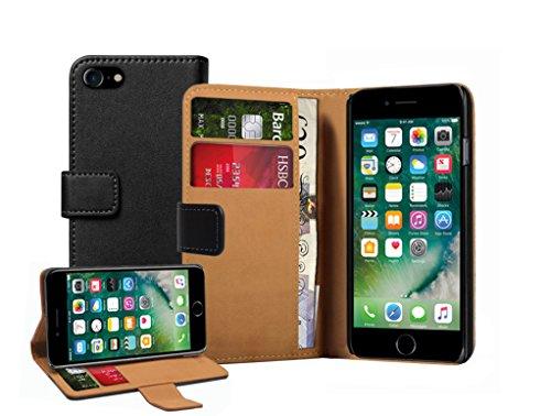Membrane Coque Apple iPhone 7 Etui Noir Portefeuille Flip Wallet Cuir Véritable Case Cover Housse Wallet Noir