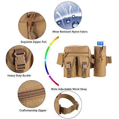 Tactical bag hip Packs marsupio marsupio da trekking pesca sport caccia borse vita sport tattico borsa marsupio, Uomo, Jungle green Jungle green