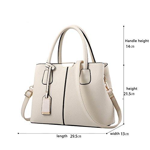 Tisdain Il raccoglitore semplice di cuoio dell'unità di elaborazione del sacchetto del messaggero della spalla di colore della borsa delle donne semplice di modo bianco crema
