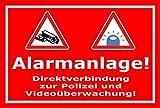 Video-Überwachung Aufkleber - Alarmanlage - Direktverbindung zur Polizei – 30x20cm – S00348-005-D – Kamera-Überwachung +++ in 20 Varianten erhältlich