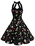 Dresstells Halter 50s Rockabilly Polka Dots Audrey Dress Retro Cocktail Dress Black Small Cherry S
